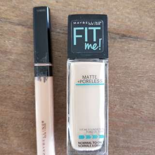 Fit me matte in ivory and fit me concealer in light