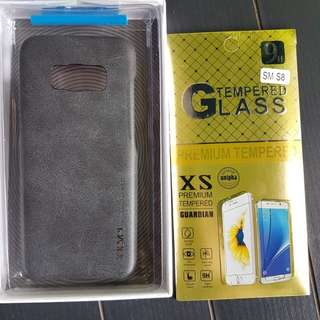 Samsung S8 slim back case + tempered glass