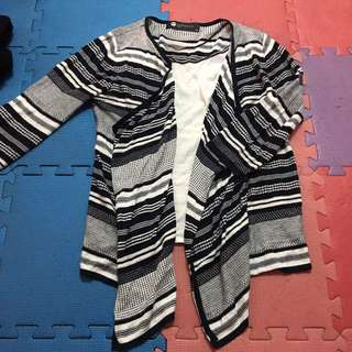 LINDARICO/size:42約M-L/MADE IN Italy/假兩件式細針織條紋上衣