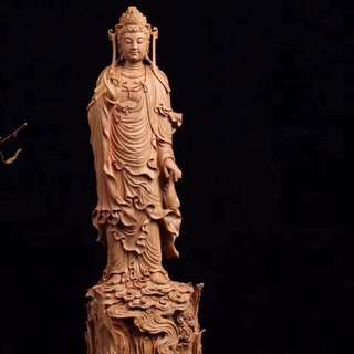 Sandal wood hand carved guan yin- strong natural sandal wood scent