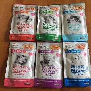 日本Miaw Miaw 貓濕糧主食包 一套6款味