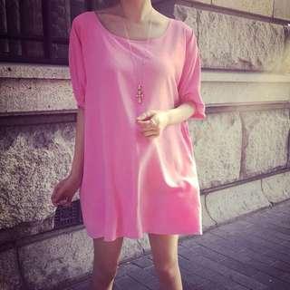 粉紅色雪紡連衣裙 Bubble gum pink chiffon tunic