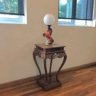 Antique porcelain horse lamp