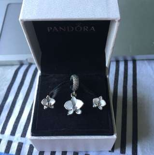 Pandora Orchid Charm and Earrings Set