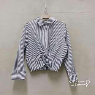 前紐結背後鬆緊直條紋襯衫
