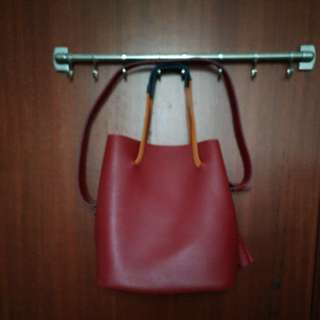 Red/Blue (multi colour) bucket bag (sling + handbag)