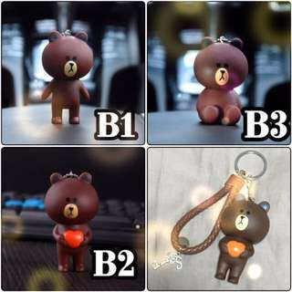 (LINE BROWN CONY) Personalised Colourful Keychain