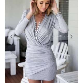 Xenia boutique grey long sleeve secret love dress