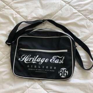 black Typo shoulder satchel