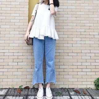 Assymetric Boyfriend Jeans (Light Blue)