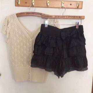 🎈超可愛蝴蝶結🎀異材質拼接牛仔褲裙