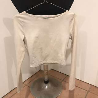 Kookai off white long sleeve crop