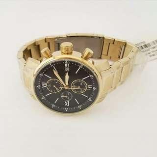 Fossil Men's Rhett Chronograph Watch BQ1702 Men's Black Dial Gold Stainless Band 44mm