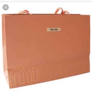 Miu Miu large paper bag with ribbons