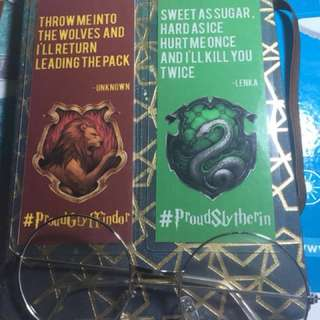 Slytherin and Gryffindor bookmarks