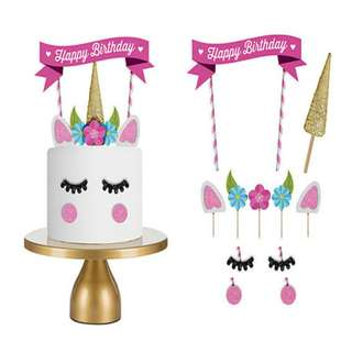 1Set Unicorn Birthday Cake Topper Happy Birthday Candle Party Supplies DIY Decor