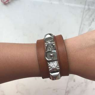Juicy Couture Brown Leather Wide Bracelet