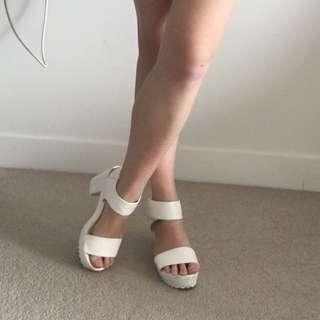 White chunky heels