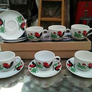 Cangkir set motif ayam jago, tea set, coffee set