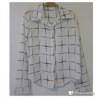 方格雪紡長袖襯衫