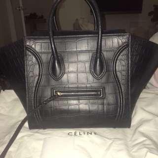 CELINE MEDIUM BLACK STAMPED CROCODILE PHANTOM LUGGAGE BAG