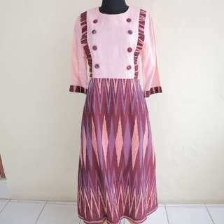 Pink Dress Combination Ikat