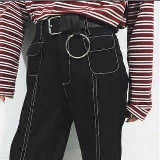 🚚 長褲復古chic 寬褲 闊腿褲 顯瘦 高腰 明線設計