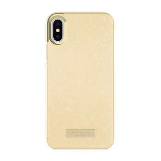 [IN-STOCK] kate spade new york Wrap Case for iPhone X - Saffiano Gold/Gold Logo Plate