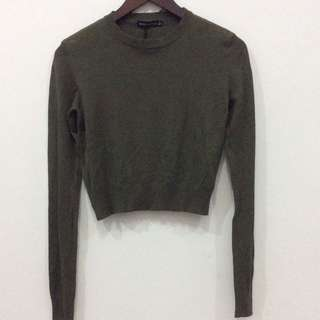 Bershka green army crop sweater / sweatshirt
