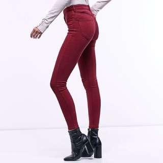 [instock] stradivarius maroon skinny jeans