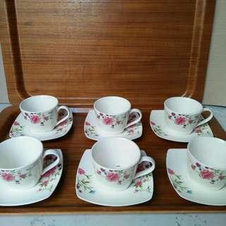 Cangkir set nakami motif vintage - shabby chic, tea set, coffee set