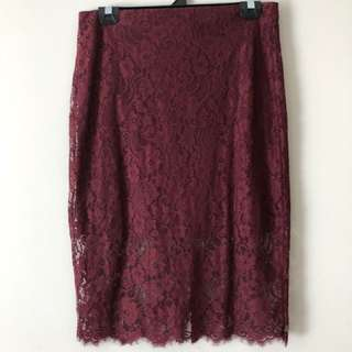 Ally maroon lace pencil skirt