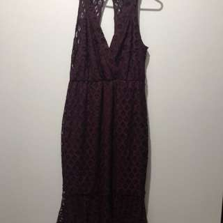 Maroon lace dress size 12 WORN ONCE