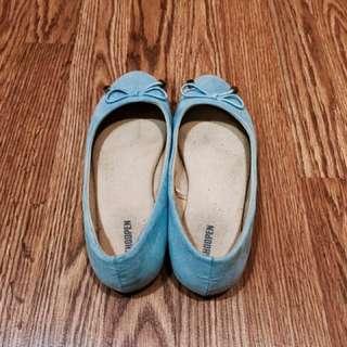 Pastel Blue Suede Flats