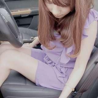 降🎉小安  Nude 正韓紫色綁帶連身洋