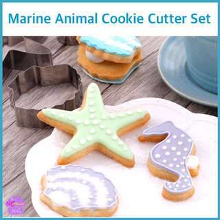 🐚 MARINE • SEA ANIMAL METAL CUTTER MOLD SET  for Baking Cookies • Fondant Cake & Cupcake Decoration • Bread Dough • Pastry • Sugar Craft • French Macaroons • Jelly • Fruits • Polymer Clay Art Craft  [Starfish • Seahorse • Clam Shell]
