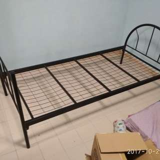Used single metal bed frame (black)
