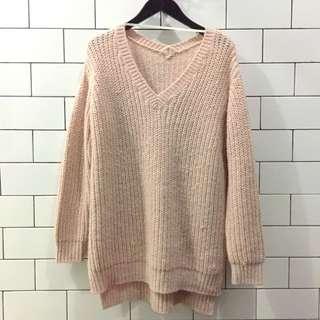 Oversized Soft Pink Wool Knit Sweater