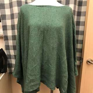 綠一字毛罩衫外套