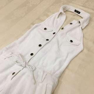白色露背毛巾料連身褲