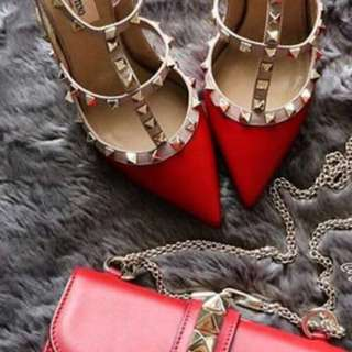 VALENTINO MIRROR QUALITY RED GLOSSY TINGGI 5 CM size 36