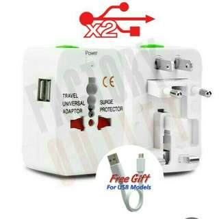 Universal World Wide International Travel Adaptor With Dual USB Port For Use In All International Countries Electrical Plugs.