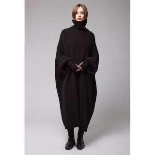 VM 歐美 復古 高領套頭  寬鬆中長款蝙蝠袖 黑色毛衣連身裙 大尺寸高個女孩都可駕馭