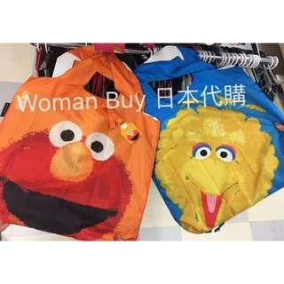 日本 芝麻街 可收納輕便袋 兩色(預購)
