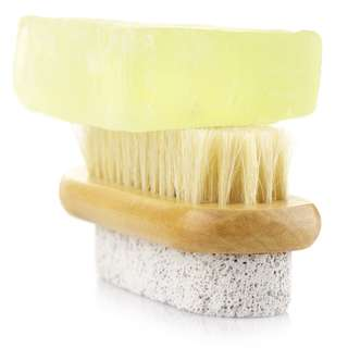 PUMICE STONE X BRISTLE FOOT BRUSH Remove Removal Thick Dead Callous Skin Cracked Heel Heels Treatment SPA Series