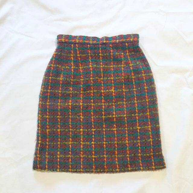 80s復古配色毛線格紋古著直筒窄裙