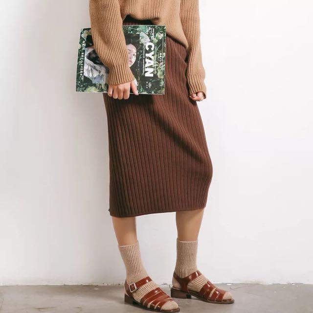 復古針織顯瘦包臀裙