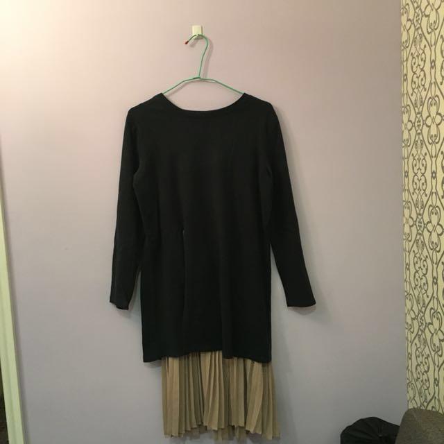 開衩百褶兩件式洋裝