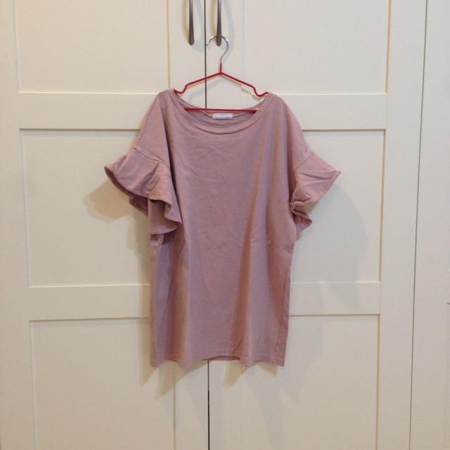 韓製藕粉色荷葉袖上衣
