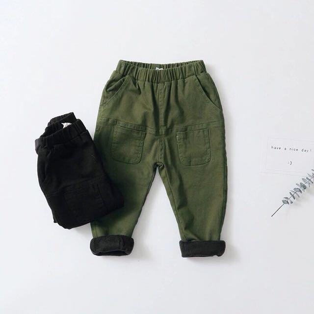 秋冬兒童工裝加絨長褲